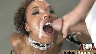 Ebony Cum Slut Hottie Bukkake Party 2